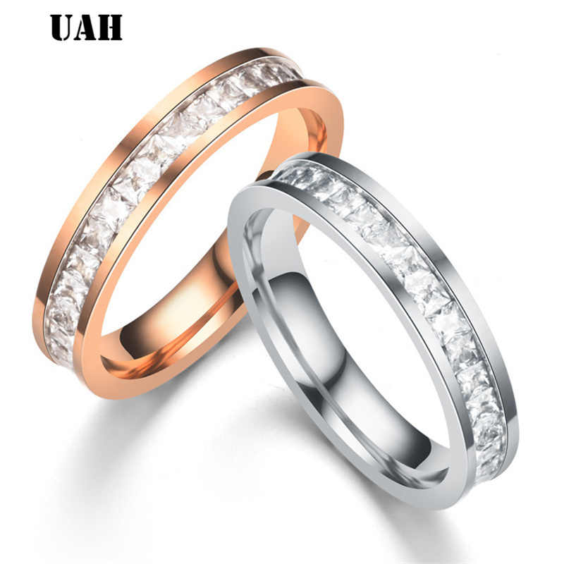 UAH Simple Stainless Steel Wedding Bands Ring for Women Men Never Fade Silver Rose Female Classic Engagement  Alliance
