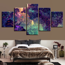 Wall Art Canvas Painting Printed Poster Frame 5 Pieces Colorful Glowing Forest Home Decor Modular Mushroom Tree Pictures canvas painting modular wall art frame home decor 5 pieces new york city night scene pictures hd print brooklyn bridge poster