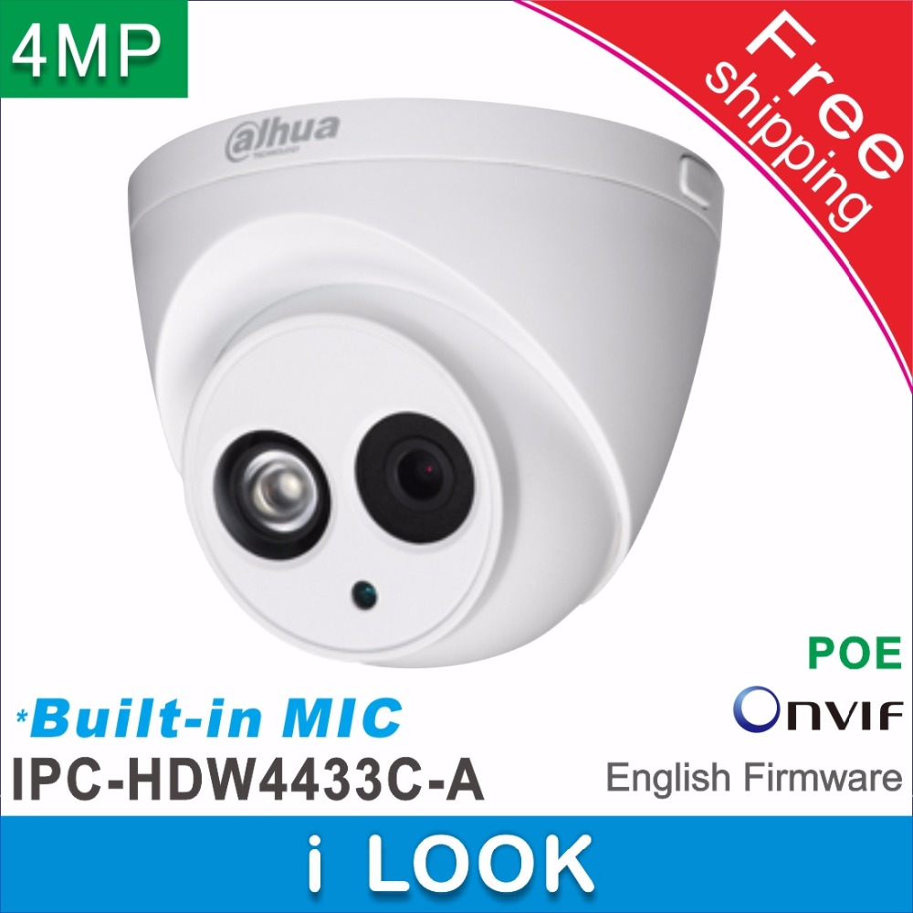 Free shipping Dahua Built-in MIC HD 4MP network IP Camera IPC-HDW4433C-A replace IPC-HDW1431S cctv Dome Camera Support POE