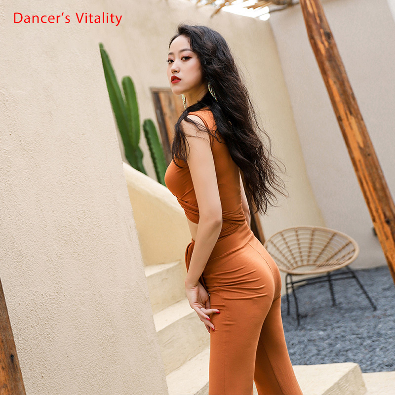 One Piece Bellydance Wear Women Comfortable Modal Jumpsuit With Wrap Belt Stretch Practice Costume Sexy V Neck Strap top pants