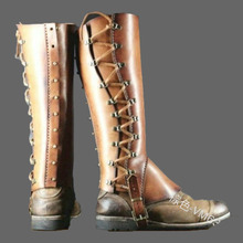 cosplay Medieval Retro Warrior Role Playing Knight Accessories Samurai Leather Shoes Suit Equipment COS Foot Cover