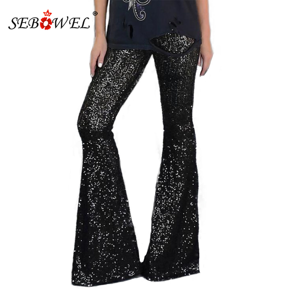 SEBOWEL 2020 Black Hight Waist Elastic Sequin Wide Flares Pants For Woman Party Dance S-XL Female Glitter Bell-bottomed Trousers