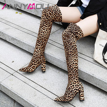 ANNYMOLI Winter Thigh High Boots Women Leopard Block Heels Over the Knee Slim Stretch Super Heel Shoes Lady Autumn 46