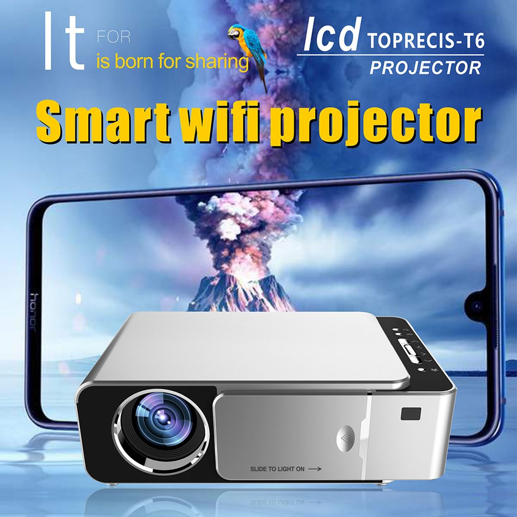 T6 Projector Android 9.0 WIFI Optional 3500lumen 1080p HD Portable LED Projector HDMI Support 4K Home Theater Proyector Beamer