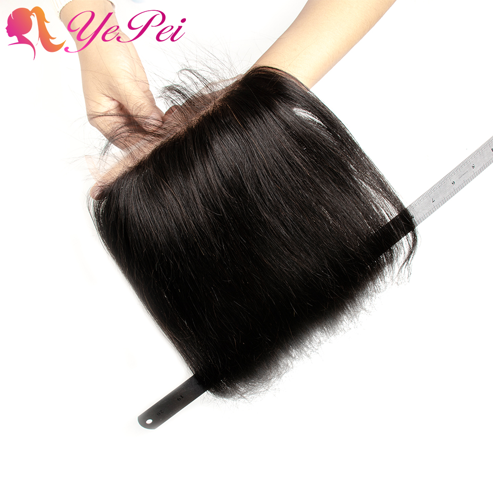 6x6 Lace Closure Straight Human Hair Free Part Closure Pre Plucked With Baby Hair Remy Brazilian 8-24 Inch Natural Color Yepei