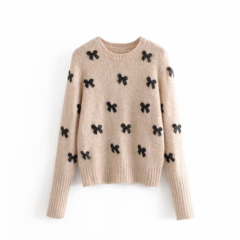 Elegant Bow Tie Appliques Sweater Women Casual O Neck Long Sleeve Winter Pullover Stylish Tops Female Chic Knitted Jumper
