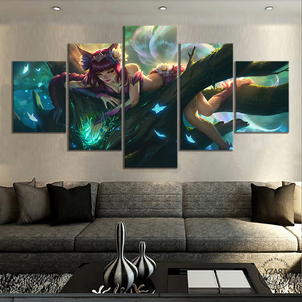 League of Legends the Nine-Tailed Fox Ahri HD Game Poster Wall Picture Canvas Paintings for Bedroom Decor 2