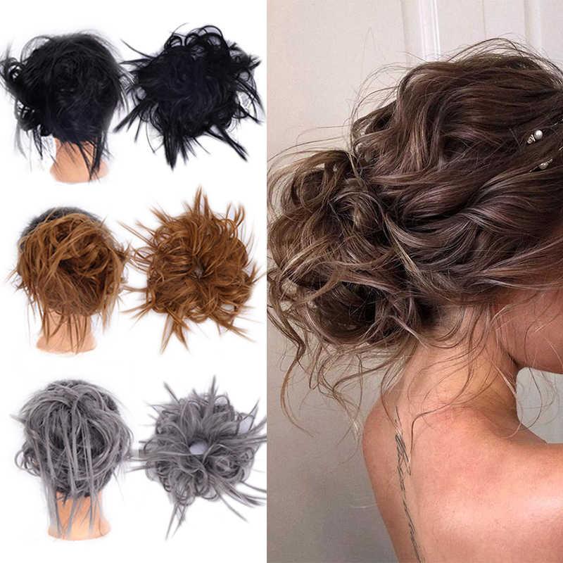 LUPU moño sintético desordenado Scrunchies pelo moño banda elástica piezas falsas de cabello Natural fibra resistente al calor para mujeres