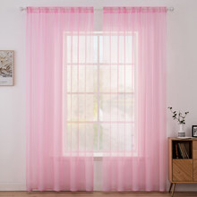 MILING Pink Transparent Voile Tulle Curtains Window Curtain Living Room Bedroom Sheer Curtains Wedding Drapes Valance Home Decor(China)