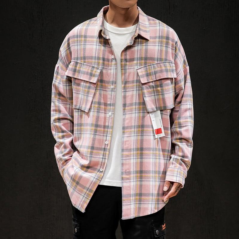Long Sleeve Pink Blue Plaid Cotton Shirt Autumn Oversize M-5XL Fashion Checked Lapel  Casual Streetwear Men Harajuku Soft Shirt