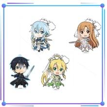 Anime espada arte SAO Online Asada Shino Kirigaya Suguha Yuuki Asuna Kirito llavero acrílico colgante de juguete llavero con carácter