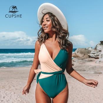 CUPSHE V-Neck Two Toned One-Piece with Belt Swimsuit Sexy Open Back Women Monokini 2020 Girls Beach Bathing Suits Swimwear 1