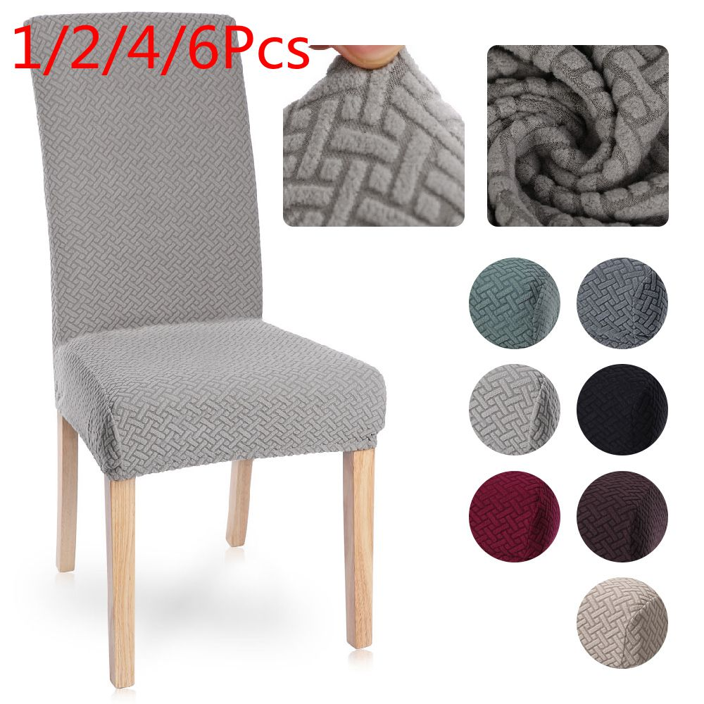 1/2/4/6Pcs Velvet Jacquard Dining Chair Cover Spandex Elastic Chair Slipcover Case For Chairs Stretch Christmas Chair Cover