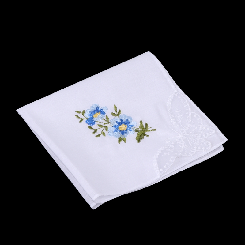 6 Pcs/Set Women Handkerchief Floral Embroidered Ladies Hankies With Blend Cotton AXYD