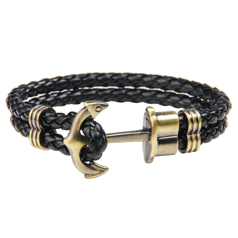 JUNWEI Anchor Navy wind pirate style alloy metal mix nylon rope bracelet men