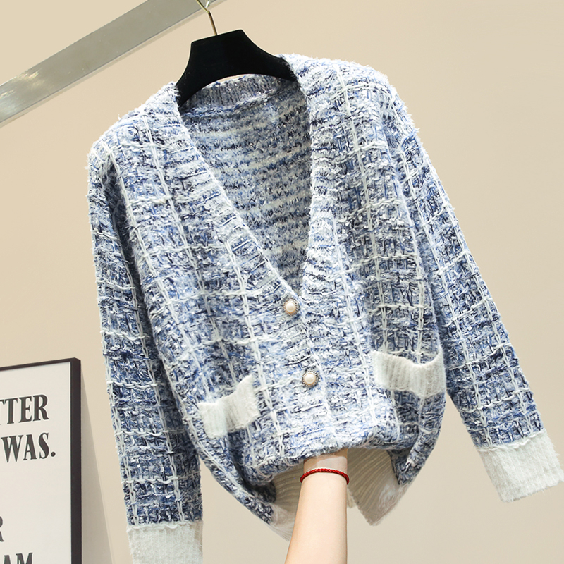 2019 Fall Winter Small Fragrance Wind Knit Cardigan Jacket Womens Hit Color Knitted Sweater Cardigans Woman Sweaters Outerwear