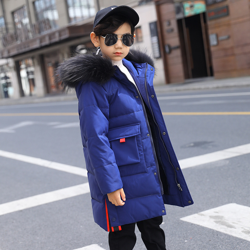 Image 4 -  30 Degree Thick Warm Down Jackets Winter Boys Duck Down Coats Children Natural Fur Long Outerwear Kids Hooded Clothes 7 12 year-in Down & Parkas from Mother & Kids