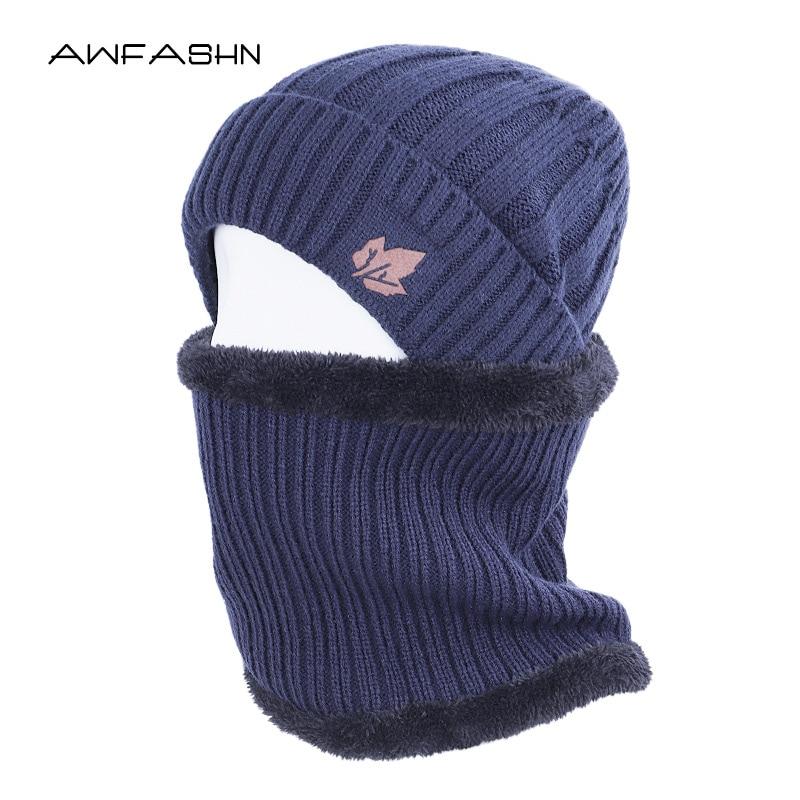 2019 New Winter Classic Men's Knit Hat Scarf Sets Fleece Thick Lining Plus Velvet Beanies Scarves Unisex Warm Soft Cap Balaclava