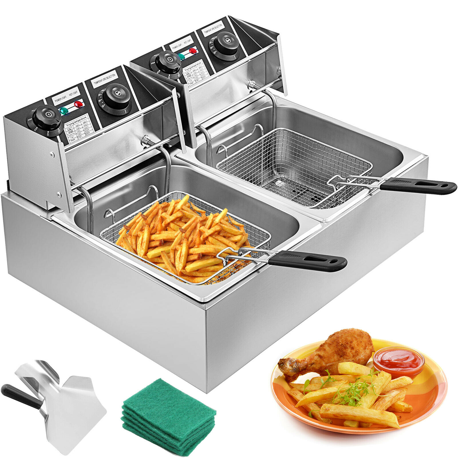 Free Shipping  Stainless Steel Deep Fat Fryer 2x10L Deep Fryer Cold Zone Fat Benchtop 5000W 20L