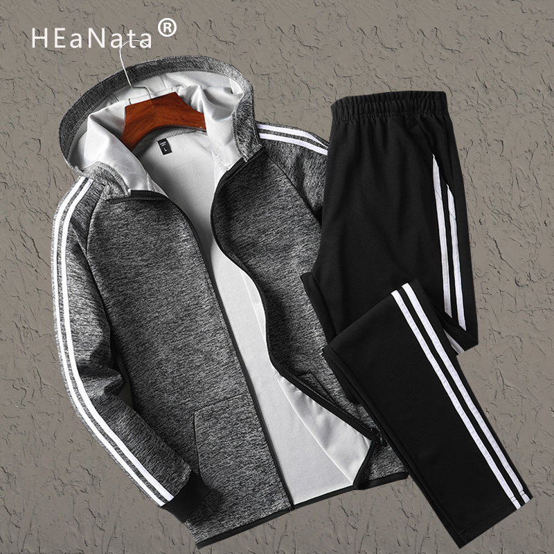 2019 Sports Suit Men Sports Suits Loose Tracksuits Mens Autumn Winter Fitness Gym Suits Set Warm Jogging Exercise Work Tracksuit