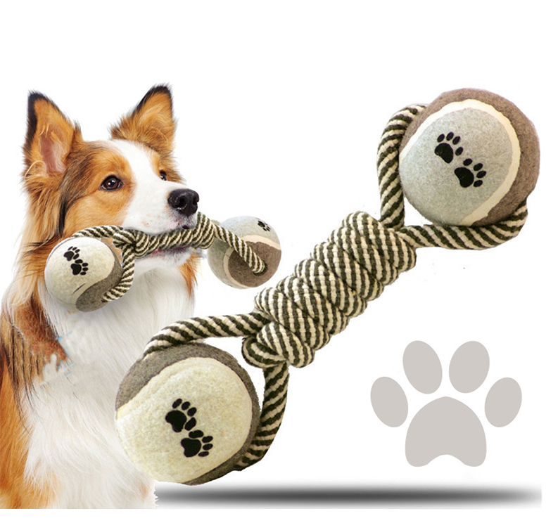 Portable Pet Toys Cotton Rope Ball Dog Toy Dumbbell Molar Cotton Cable Training Decompression Bite Chew Toy For Dogs Petshop 8