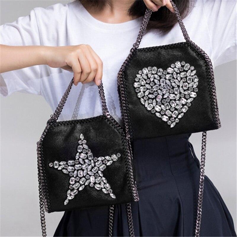 Femmes sacs à bandoulière cristal Totes noir luxe femmes Zip cuir Punk sacs à main coeur étoile chaîne sacs dames petits sacs à bandoulière