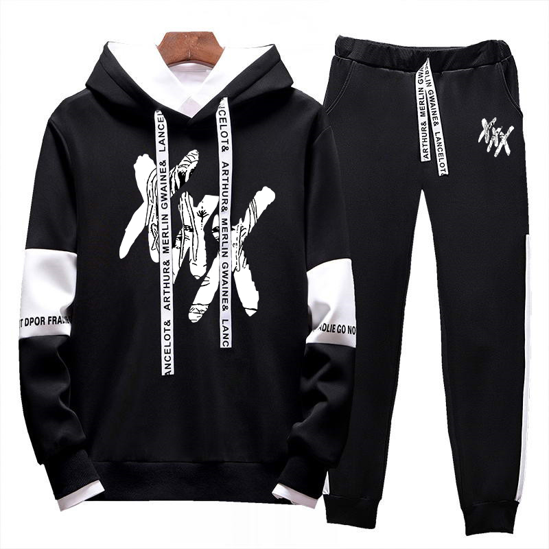 Men's New Casual Hip Hop XXXTentacion Printed Sweatshirt Set Hoodies + Pants 2 Sets Of Pullovers