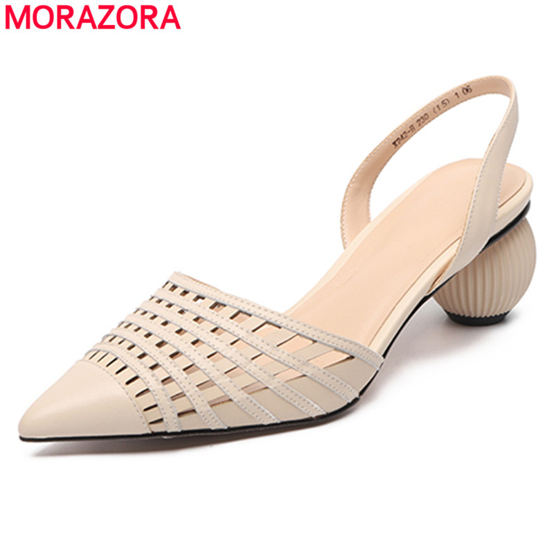 MORAZORA New 2020 Fashion Genuine Leather Shoes Woman Cut Outs Pointed Toe Round High Heels Summer Shoes Fashion Ladies Footwear