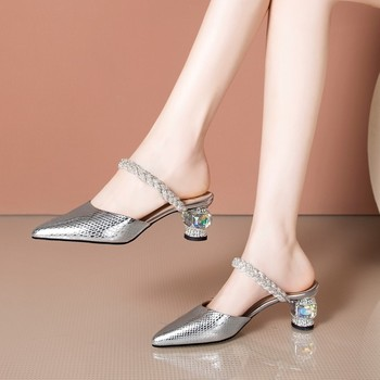 MLJUESE 2020 women slippers Soft cow leather Rome style summer crystal pointed toe silver color high heels sandals party wedding