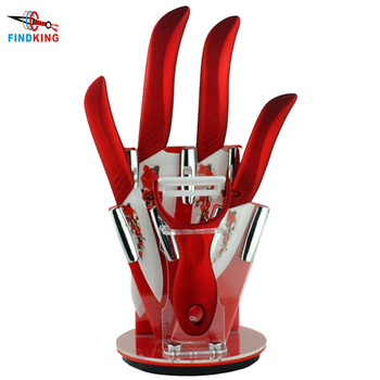 Findking Home ceramic knives set Beauty Gifts 6 piece Zirconia Ceramic Knife tool Set 3 4 5 inch Peeler with Holder