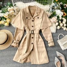 Trench Coat Women Long Sleeve Suit Collar Vintage Khaki Black Tunic Korean Belt