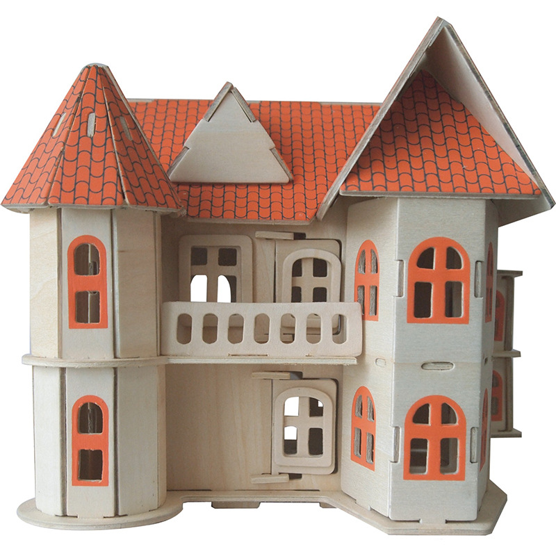 Candice Guo! Educational Wooden Toy 3D Puzzle DIY Woodcraft Assembly Kit Building Series Sweet House Birthday Christmas Gift 1pc