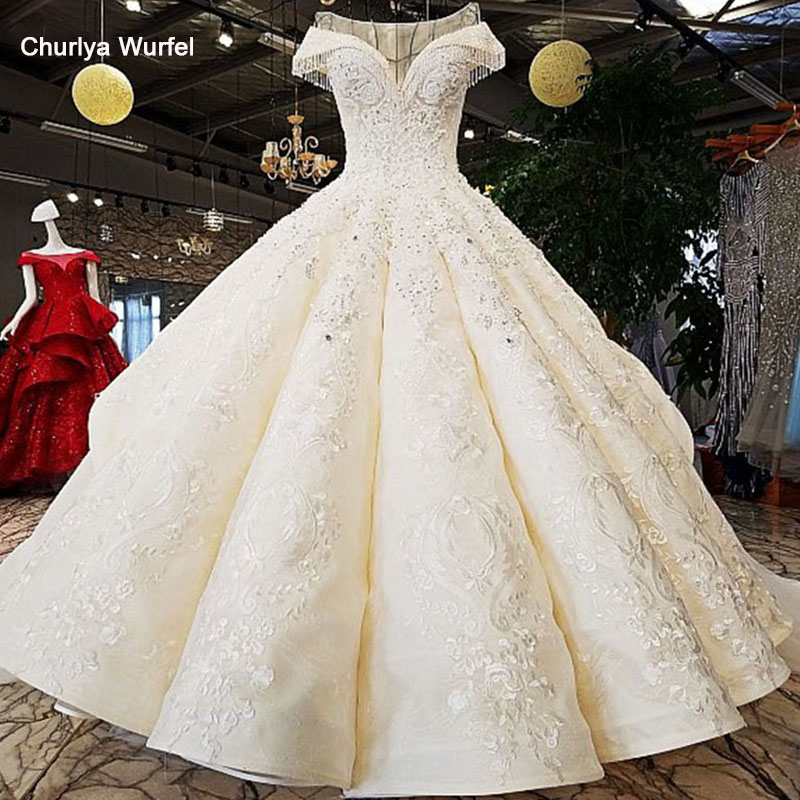 LS34332 2018 Luxury Wedding Dress O-neck  Ball Gown Lace Up  Ivory And Champagne Bridal Wedding Gowns With Long Train As Photos