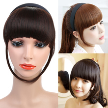 Women's Short Flat Straight Fake Synthetic Hair Bangs Extensions High Temperatur