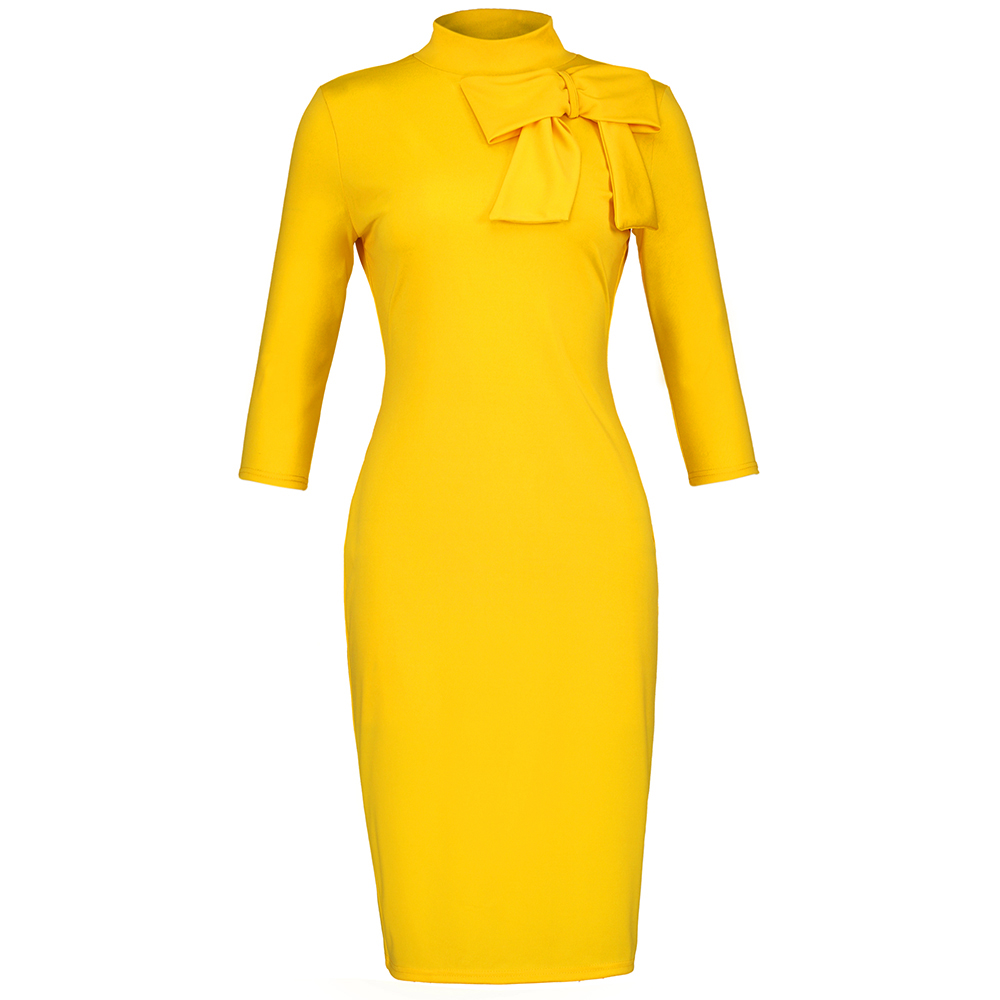 Yellow Turtle Neck Pullover Women's Pencil Dress Autumn 2020  Elegant Party Work Midi Dresses Robe Femme Vestiods Pullover