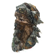 3D Unisex Leaf Blind Mask Outdoor Multi-functional Camping Hunting Bionic Camouflage Headgear suit
