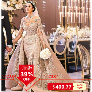 Image 1 - Robe De Mariee Luxury Long Sleeves Mermaid Lace Wedding Dresses High Neck Wedding Gowns with Over Skirt