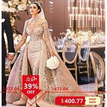 Szata De Mariee luksusowe długie rękawy syrenka koronkowe suknie ślubne na szyję suknie ślubne z ponad spódnicą