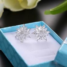 Yeni moda kübik zirkonya düğme küpe kız kristal küpe kadınlar için gelin düğün noel festivali kulak takı aksesuarları