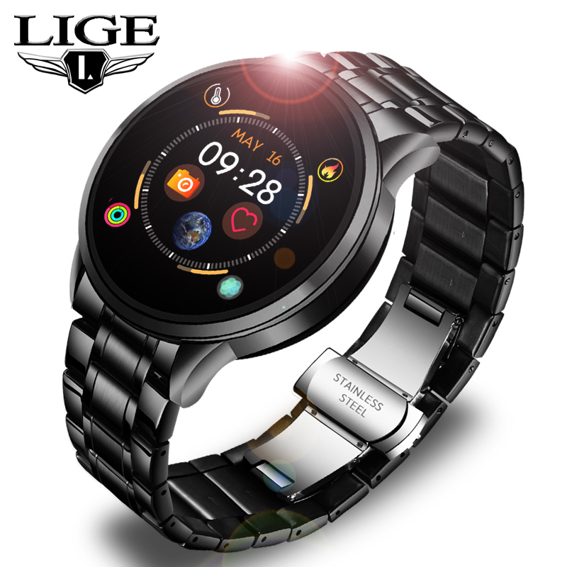 LIGE Steel Band Smart Watch Men Fitness Tracker Heart Rate Blood Pressure <font><b>Monitor</b></font> Sport Waterproof Smartwatch For Android IOS image