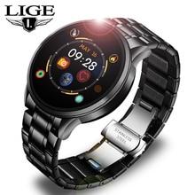 LIGE Steel Band Smart Watch Men Fitness Tracker Heart Rate Blood Pressure Monito