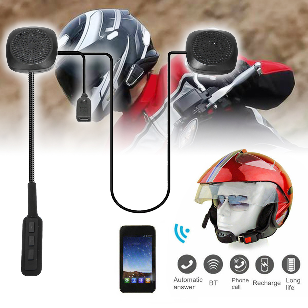 1SET DC5V Motorcycle Helmet Wireless Bluetooth Headset Speaker Stereo Headphone Handsfree Music Support A2dp Avctp Avdtp L2cap