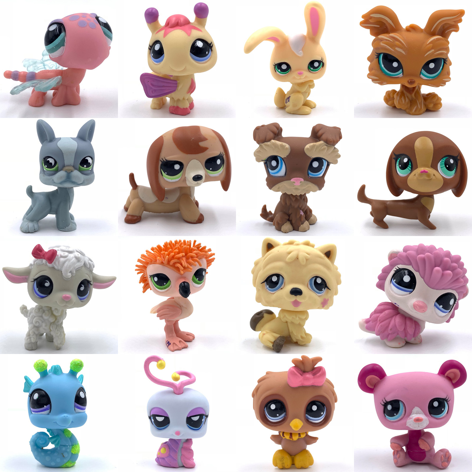 Rare Pet Shop Toys Cute Animal Toy Bird Flamingo Hedgehog Dragonfly Rabbit Puppy Old Original Animal Collection Toy For Girl