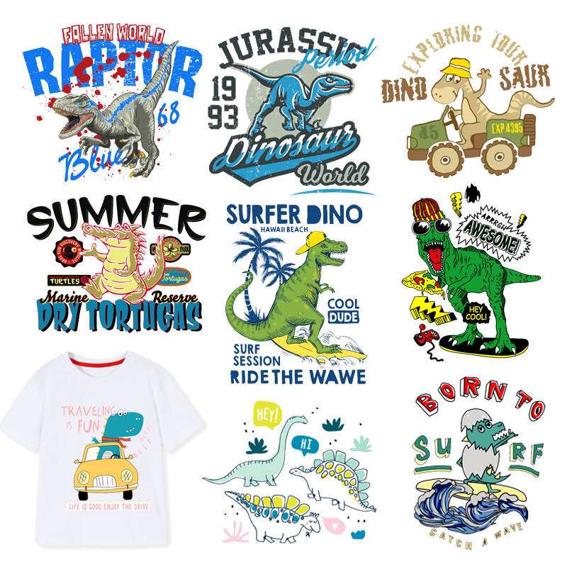 Jurassic Cretaceous Dinosaur Iron On Patches For Clothes Child DIY Applique Heat Transfer Vinyl Letter Animal Patch Sticker F