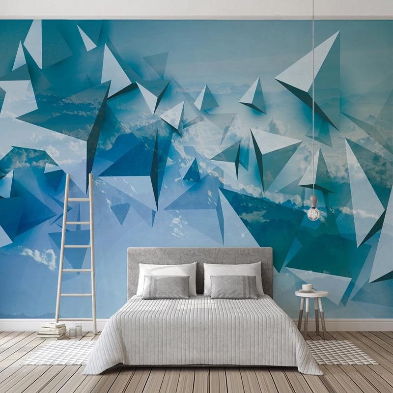 Custom Mural Wallpaper 3D Stereo Geometric Blue Sky Fresco Living Room TV Sofa Home Decor Creative Art Frescoes Papel De Parede