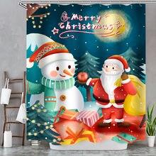 2021 Рождественская занавеска для душа с изображением снеговика
