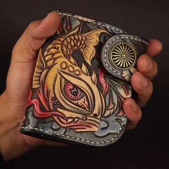 Women Mini Cow Leather Hand Carved Daisy Wallets Purses Men Clutch Vegetable Tanned Leather Wallet Card Holder