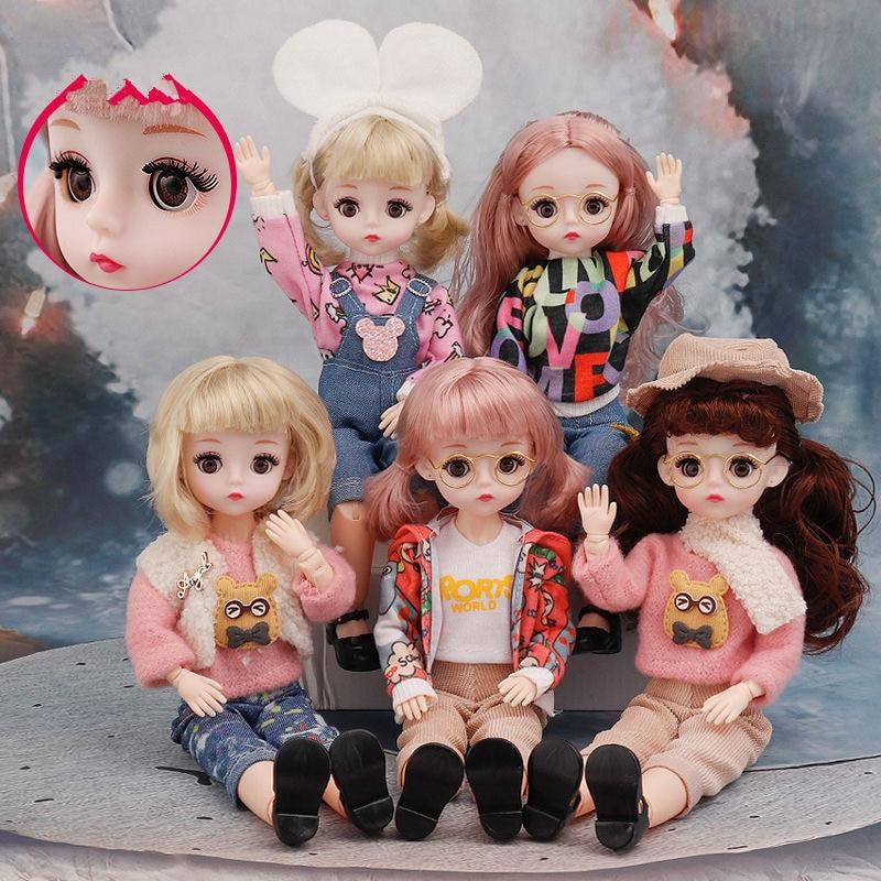 12 zoll 22 Bewegliche Gelenke BJD Puppe 30cm 1/6 Make-Up Kleid Up Kann Schließen Augen Puppen mit Mode Kleidung für Mädchen Spielzeug Neue