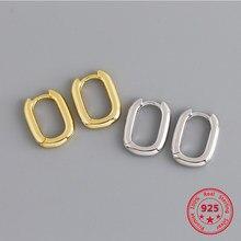 Anenjery 925 ayar gümüş altın küpe Retro geometrik Oval damızlık küpe kadınlar için Brincos Oorbellen Pendientes