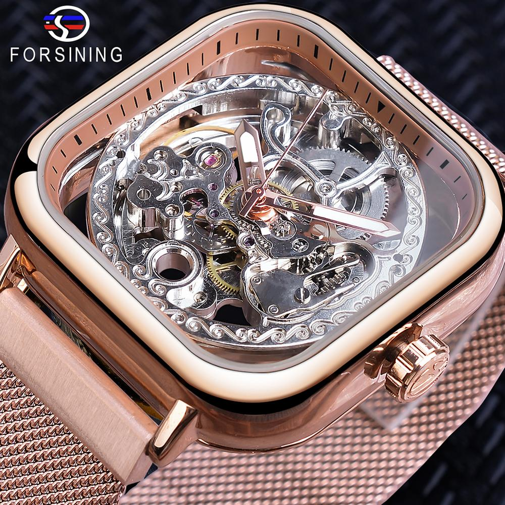 Forsining Automatic Geometric Square Design Transparent Men Wrist Watch Rose Gold Gear Self Wind Mesh Steel Strap Relojes Hombre